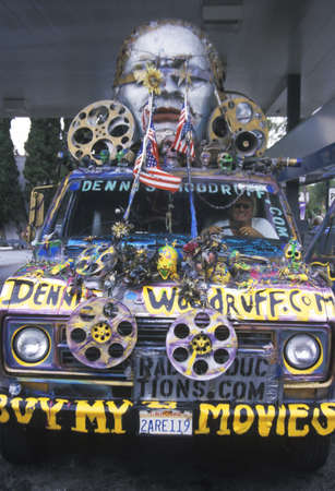 cultural artifacts: Van converted into a decorated mobile movie studio, California