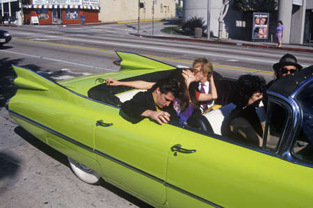 A green 1959 Cadillac on Saint Patricks Day in Los Angeles, CA