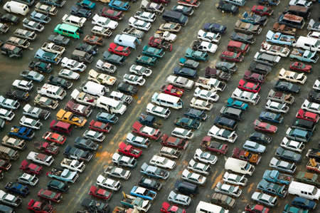 wrecked: Aerial view of wrecked cars in Charlotte, North Carolina