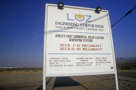 barstow: Sign for the LUZ Engineering Corporation Solar Plant in Barstow, CA