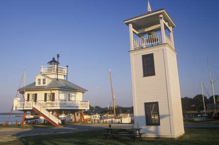 md: Hooper Strait Lighthouse lamp at Hooper Strait in Tangier Sound, Chesapeake Bay Maritime Museum in St. Michaels, MD