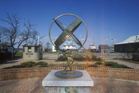 md: Sculpture in front of Hooper Strait Lighthouse at Hooper Strait in Tangier Sound, Chesapeake Bay Maritime Museum in St. Michaels, MD