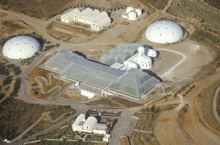 enclosed: Aerial view of the enclosed ecosystem of Biosphere 2 at Oracle in Tucson, AZ Editorial