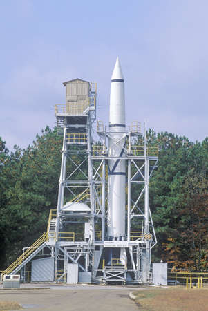 redstone: A rocket at the historic Redstone Rocket Test Site at the George C. Marshall Space Flight Center in Huntsville, Alabama