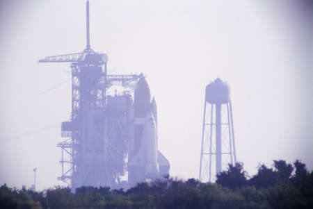 cape canaveral: Space shuttle Discovery on the launch pad, Kennedy Space Center, Cape Canaveral, FL