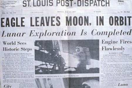 moonwalk: St Louis Post-Dispatch newspaper displays Apollo 11 moon mission, July 21, 1969