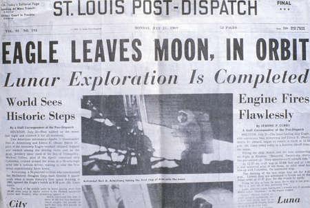 moonwalk: St Louis Post-Dispatch newspaper displays Apollo 11 moon mission, July 21, 1969