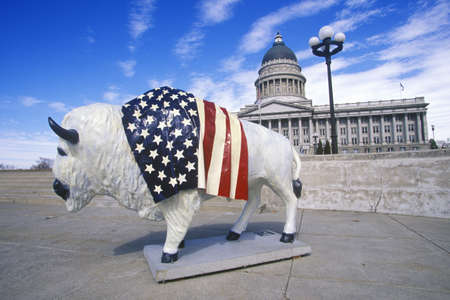 sic: Bison painted with American flag, Community art project, Winter Olympics, state capitol, Salt Lake City, UT