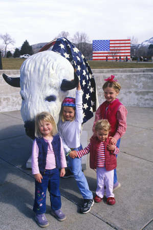 sic: Bison painted with American flag, Community art project, Winter sports competitions, state capitol, Salt Lake City, UT