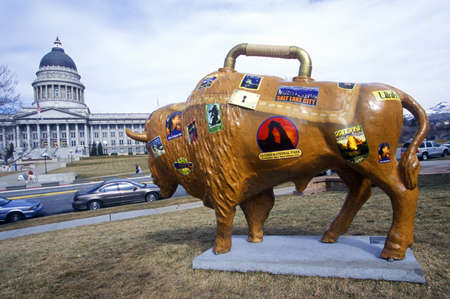 sic: Painted Bison, Community art project, Winter Olympics, state capitol, Salt Lake City, UT Editorial