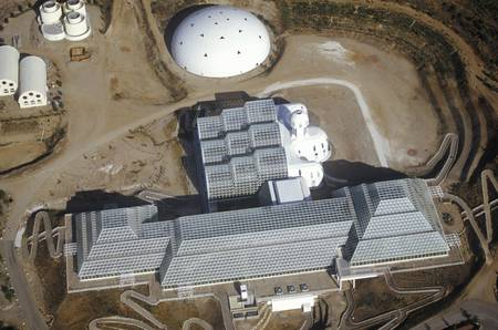 biosphere: Aerial view of the enclosed ecosystem of Biosphere 2 at Oracle in Tucson, AZ Editorial