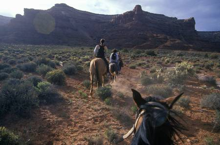 western usa: Horseback riding in Valley of the Gods, UT
