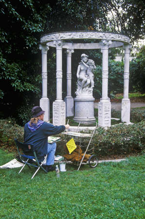 Artists painting Gazebo with statuary, Huntington Library and Gardens, Pasadena Stock Photo - 20514131