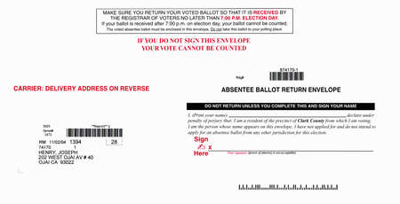 absentee: Official Election Mail absentee ballot return envelope