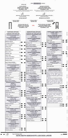 Official Election absentee ballot for the 2004 Presidential Election