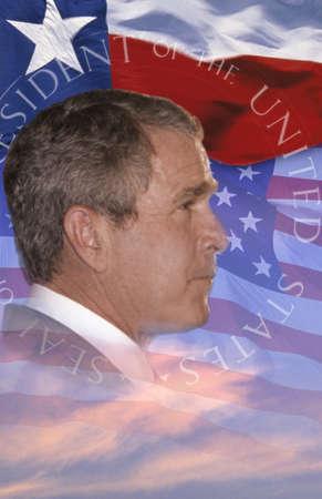 composite: Digital composite: el presidente George W. Bush y la bandera americana