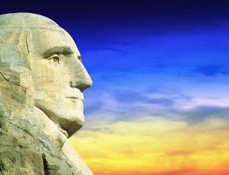 'mt rushmore': President George Washington at Mt. Rushmore, South Dakota