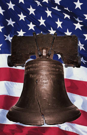 Liberty Bell with American flag Editorial