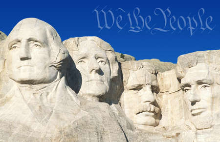 preamble: Digital composite: Preamble to the U.S. Constitution and Mount Rushmore