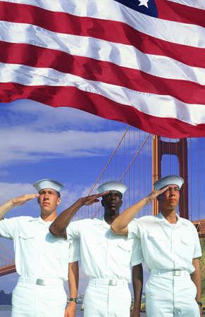 Digital composite: Ethnically diverse American sailors, American flag, Golden Gate Bridge