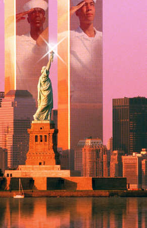 Digital composite: New York skyline, American sailors, World Trade Center, Statue of Liberty