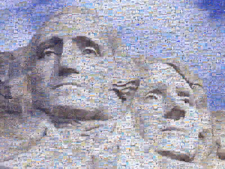 Digital mosaic of small images comprising Washington and Jefferson on Mt. Rsuhmore