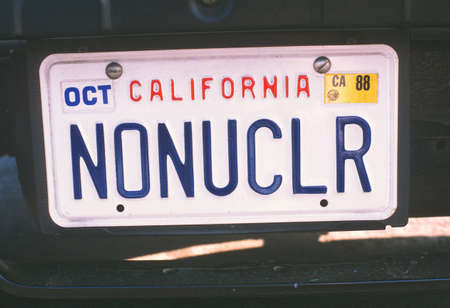 nuke plant: Vanity License Plate - California Editorial