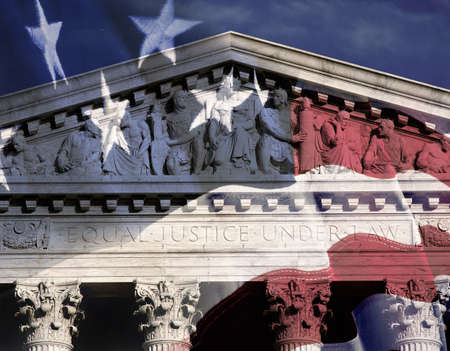 political and social issues: Digital composite: Supreme Court Building and American flag