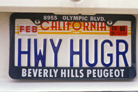plate: Vanity License Plate - California Editorial