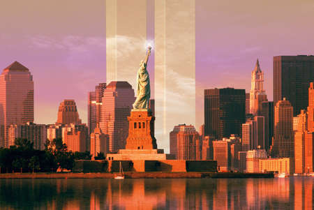 Digital composite: New York skyline, World Trade Center, Statue of Liberty