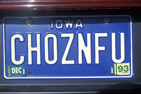 Vanity License Plate - Iowa