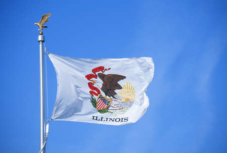 State Flag of Illinois Editorial