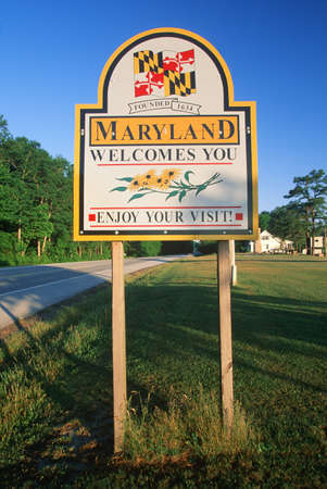 cultural artifacts: Welcome to Maryland Sign Editorial