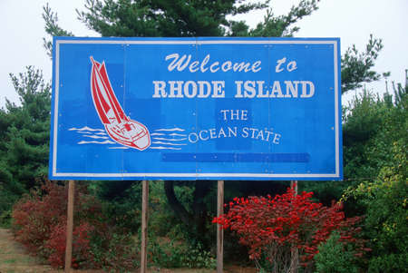 island: Welcome to Rhode Island Sign Editorial