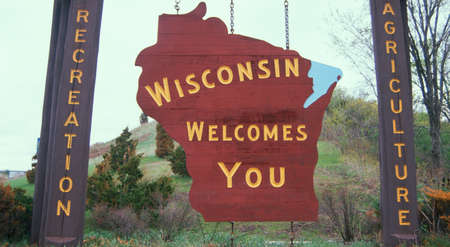 Welcome to Wisconsin Sign Reklamní fotografie - 20475732