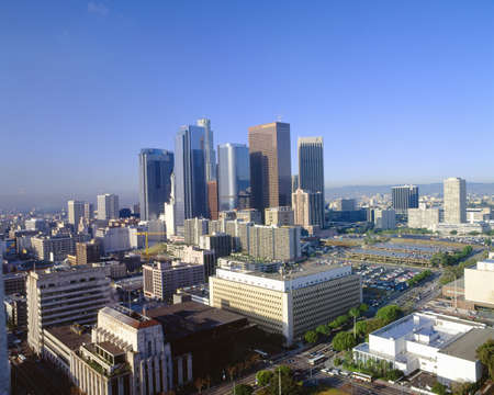 city and county building: Los Angeles Skyline from City Hall, California