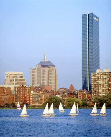 urban sprawl: Sailing, Charles River, Boston, Massachusetts