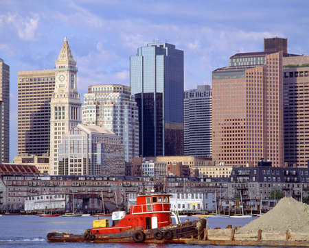 unspecified: Tugboat and Boston Skyline, Massachusetts