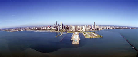 skyscape: Chicago Harbor, Aerial Perspective, Illinois