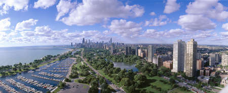 urban sprawl: Chicago Harbor, City Skyline, Illinois