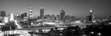 sprawl: Atlanta Skyline at Dusk (After sports competitions), grayscale, Georgia Editorial