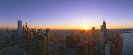 Chicago Sunset, Aerial View, Illinois