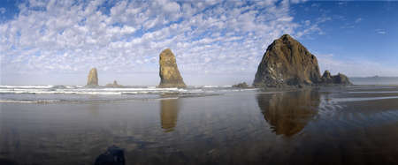 Needles and Haystack rock formations at Cannon Beach, Oregon