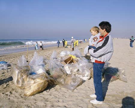 Oil spill cleanup at Newport Beach, California