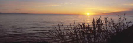 nightfall: Sunset over Pacific Ocean near Santa Barbara, California Editorial
