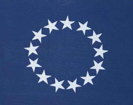 cultural artifacts: Circle of 13 stars on original American flag Editorial