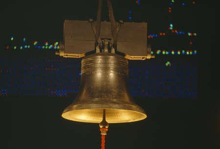 liberty bell: Golden Liberty Bell at night, Washington DC