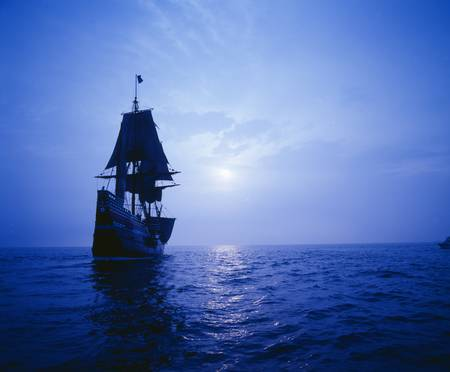 mayflower: Mayflower II replica in moonlight, Massachusetts
