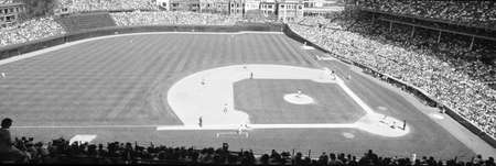 stadia: Grayscale: Wrigley Field, Chicago, Cubs v. Rockies, Illinois Editorial