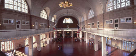 great hall: Great Hall of Immigration at Ellis Island, New York